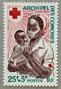Comoro Islands 1967 Nurse and child, MNH.  Red Cross. Scott B2, CV $3.25