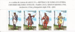 Equatorial Guinea- 2001 Soldiers - 4 Stamp Strip - Scott #243