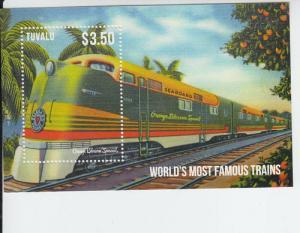 2014 Tuvalu Famous Trains Orange Blossom SS (Scott 1261) MNH