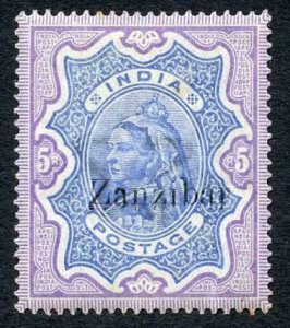 Zanzibar SG21 5r Ultramarine and Violet (a few light tone spots) M/M