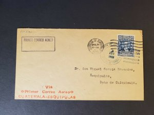 1926 Chiquimula Guatemala to Miguel Garcia Granados First Flight Air Mail Cover