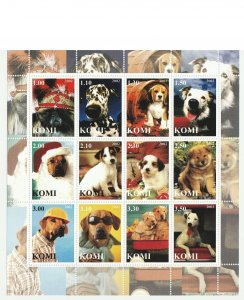 Komi MNH S/S Adorable Puppies 12 Stamps 2002