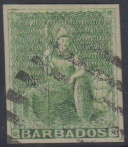 BC BARBADOS 1855-58 BRITANNIA Sc 5a YELLOW GREEN WHITE PAPER USED FVF SCV$125.00
