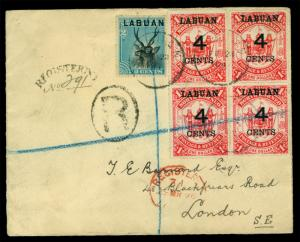 LABUAN 1896 Pictorials 2c blue Sc#50 + 4c/$1 red Sc#58 (4) used on REG cvr to UK