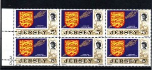 JERSEY 5d UNMOUNTED MINT BLOCK + PERFORATION ERROR