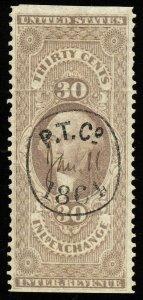 01697 U.S. Revenue Scott  R52b 30c Inland Exch. Part Perf, scarce tool co. cxl