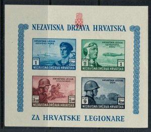 Croatia #B37* NH CV $7.50  Souvenir sheet, imperforate