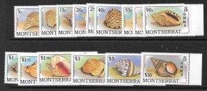 MONTSERRAT SGO76/90 1989 O.H.M.S.OFFICIALS STAMPS SHELLS MNH