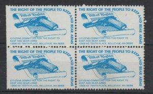 USA Gun Ownership Promotion Stamp Keep & Bear Arms Bellevue WA Block of 4 MNH