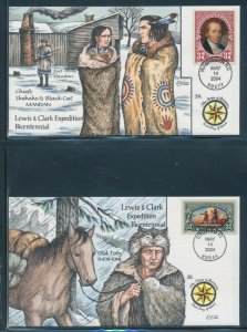 #3854-3856 ON 3 DIFF LEWIS & CLARK EXPEDITION COLLINS H.P. FDC CACHETS BV2988