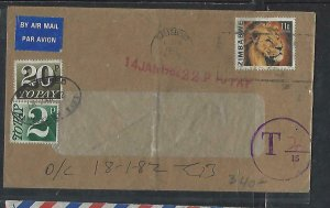 ZIMBABWE COVER (P0611B) 1972 LION 11C COVER TO ENGLAND POSTAGE DUE 2P+20P