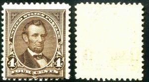 US Stamp #254. 4¢ Lincoln 1894 Mint Never Hinged