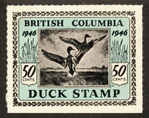 1946 Canada British Columbia 50¢ Duck stamp MNH Barefoot catalogue number BCD1