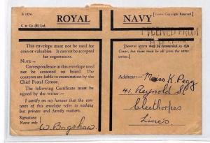 AN274 1940s WW2 GB FORCES ROYAL NAVY *Honour Envelope* Cover Cleethorpes Lincs
