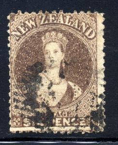 New Zealand 1862 sg 76 6d brown, wmk star FU