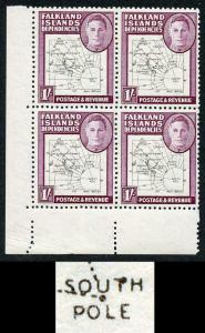 Falkland Deps SGG16a 1/- Thin Map Variety Dot on T of South in U/M Block