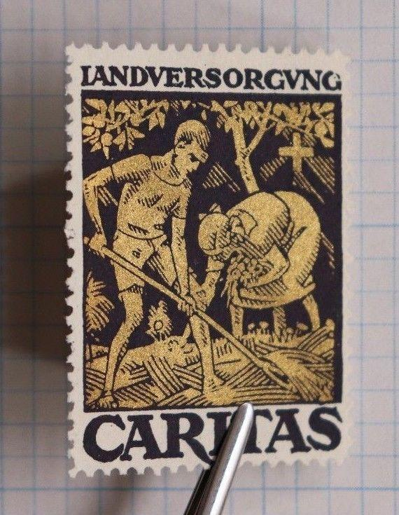 Caritas Sweden gardening land care food hunger Gold red cross charity Poster DL