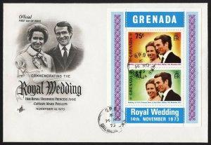 wc016 Greneda Royal Wedding 1973 souvenir sheet Scott #517a FDC first day cover