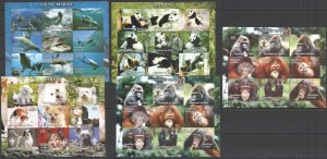 E0797 IMPERF,PERF 2004 CHAD ANIMALS PANDAS DOGS DOLPHINS MONKEY'S YEAR 5KB MNH