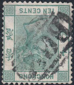 Hong Kong 1884 QV 10c Green with Inverted Watermark - Very Scarce - See Notes