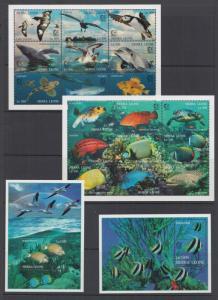 Sierra Leone Sc 1799-1802 MNH. 1995 Tropical Fish & Birds cplt incl Souv Sheets