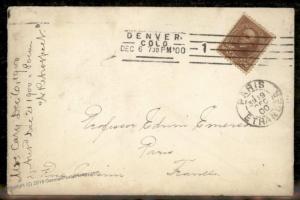 USA 1900  Colorado DENVER COLO to Paris France 10c Triangles Sc283 Cover 88136