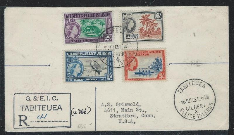 GILBERT AND ELLICE ISLANDS (P2612B) 1965 QEII REG FROM TABITEUEA TO USA