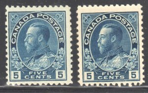 Canada VF NH #111- 111a, b, i (Small Wrinkle on the #111i)