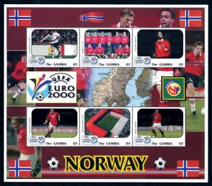 [95417] Gambia 2000 Euro 2000 Football Soccer team Norway Sheet MNH