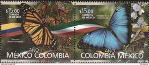 O) 2018 MEXICO, JOINT ISSUE, DIPLOMATIC RELATIONS WITH COLOMBIA, BUTTERFLIES DAN