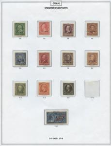 GUAM #1SE-13SE;E15E 1899 SET SPECIMEN OVPT; PF CERT CV $1,925 BS8238 HS108941