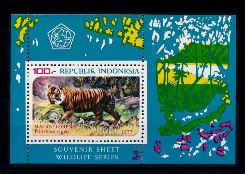 [39297] Indonesia 1977 Wild Animals Mammals Tiger Perforated MNH Sheet