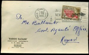 Gold Coast 1954 QEII ½d Baboo Bazaar Kumasi Envelope