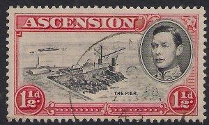 Ascension Island 1938 - 53 KGV1 1 1/2d Black & Vermilion used SG 40 ( 498 )