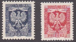 Poland # O30-31, Officials, Polish Eagle, NH, 1/2 Cat