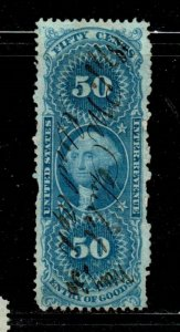 #R55c 50 CENT ENTRY OF GOODS REVENUE STAMP F-VF USED b
