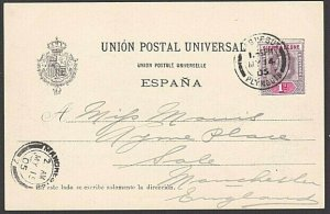 SIERRA LEONE 1905 postcard EVII 1d cancelled PAQUEBOT / PLYMOUTH cds........7636