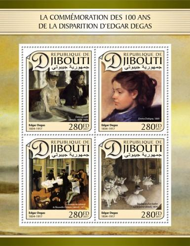 DJIBUTI - 2017 - 100th Death Anniv Edgar Degas - Perf  4v Sheet - MNH