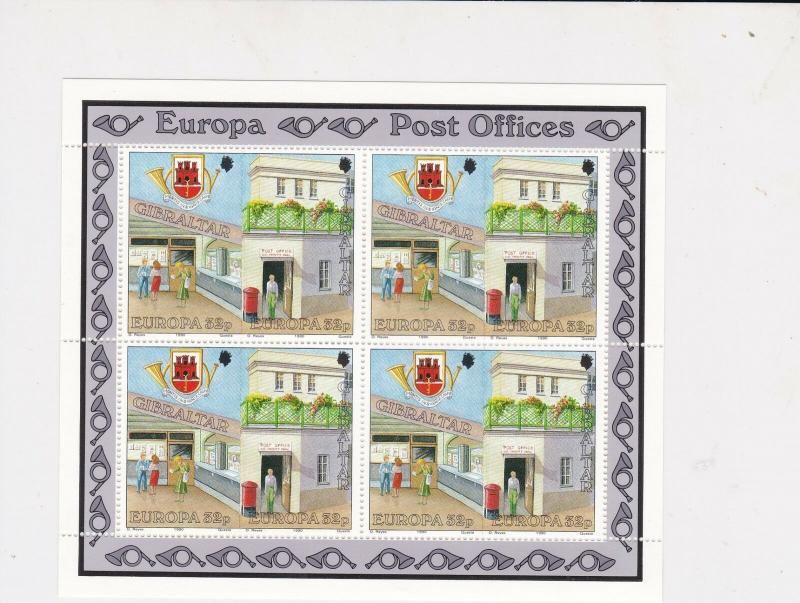 Gibraltar Europa Post Offices Mint Never Hinged Stamps Sheet ref R17747