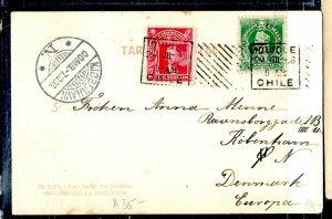 CHILE  (P3108B) 1906  2C COLUMBUS + 1C  ON PPC IOUIQUE TO DENMARK, WITH RECEIVAL