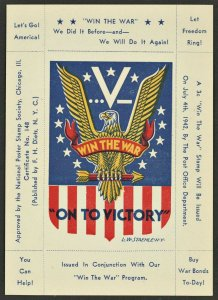 Staehle / Dietz WW II Poster Stamp Win The War On To Victory ( US Poster Stamp )