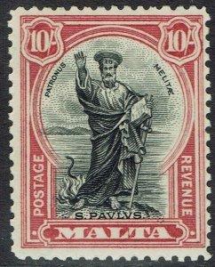 MALTA 1930 ST PAUL 10/- INSCRIBED POSTAGE AND REVENUE