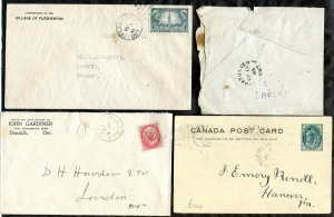 d224 - Canada Grey County Lot of (4) - Three Covers & Postcard. Postmarks