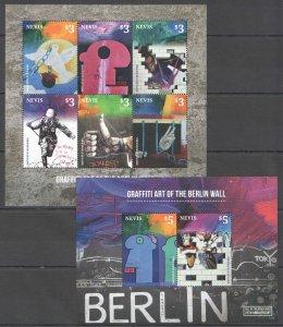 D1539 2014 NEVIS ART GRAFFITI OF BERLIN WALL #2899-04 MICHEL 25 EURO KB+BL MNH