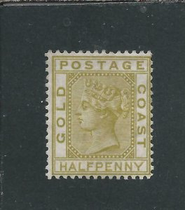 GOLD COAST 1876-84 ½d OLIVE-YELLOW MM SG 4 CAT £95