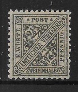 Germany Wurttemberg o120 2 1/2pf Official single MNH