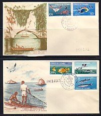 Colombia, Scott cat. 760-1, C481-3. Marine Life & Fishing. First day covers.