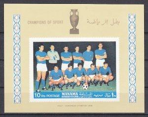 Manama, Mi cat. 106, BLB-B. Italian Soccer Team s/sheet. ^