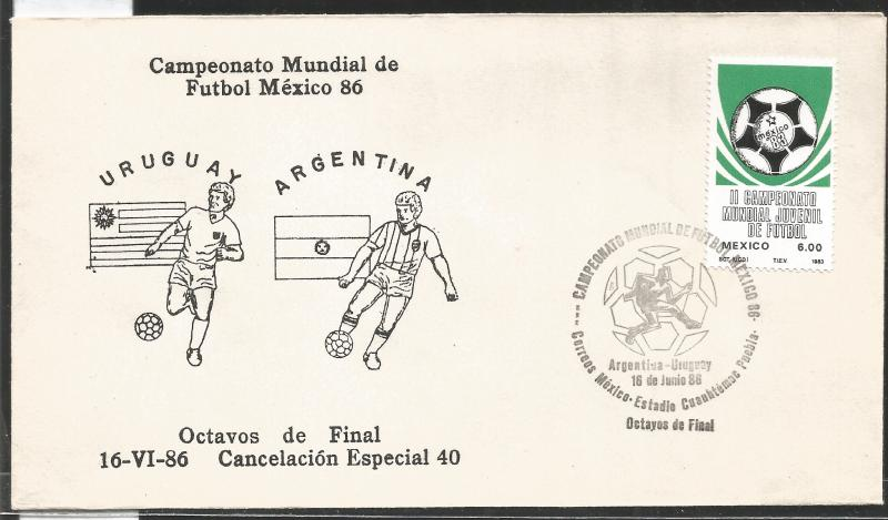 J) 1983 MEXICO, URUGUAY-ARGENTINA, BALL, SPECIAL CANCELLATION, II WORLD YOUTH FO