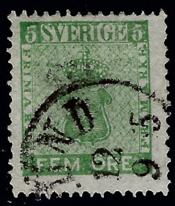 Sweden Attractive Sc#6 Used F-VF hr Cat $20.00...Sweden is Hot Now!